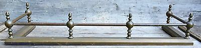 "Antique English Solid Brass Fire Fender Fireplace Surround w/ Acorn Finials 41""L"