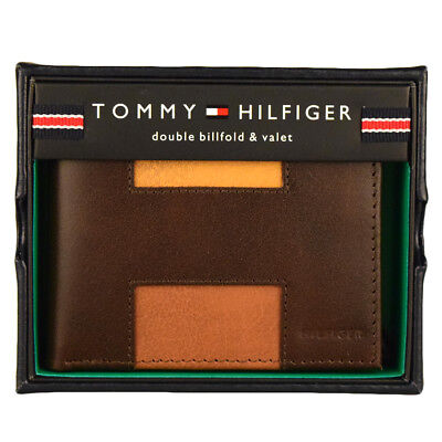 Tommy Hilfiger Men's Leather Double Bifold Credit Card Wallet Brown 31tl130013