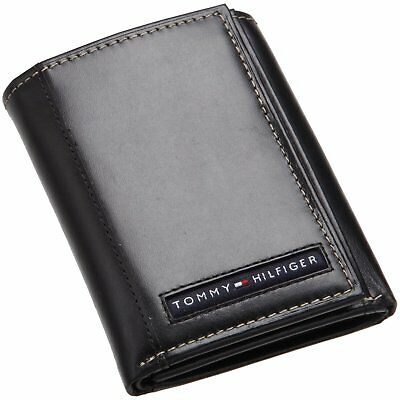 Tommy Hilfiger Men's Leather Credit Card Bill Wallet Trifold-31Tl11X033 Black