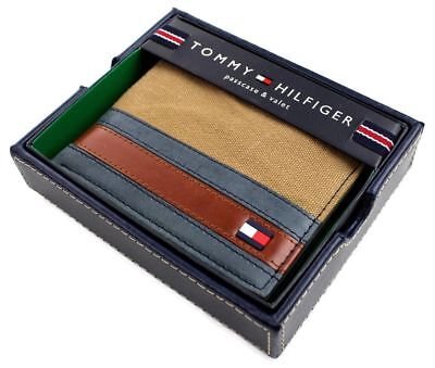 Tommy Hilfiger Men's Canvas Leather Credit Card Wallet In Khaki Navy 4896-13