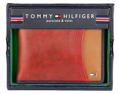 Tommy Hilfiger Men's Leather Double Billfold Wallet Red Tan  Color 31Tl220014