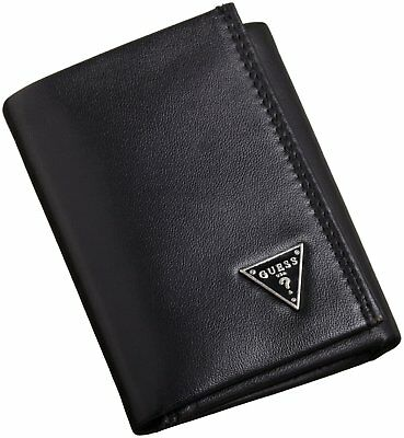 New Guess Cruz Men's Leather Credit Card Trifold Wallet Black 0965/01