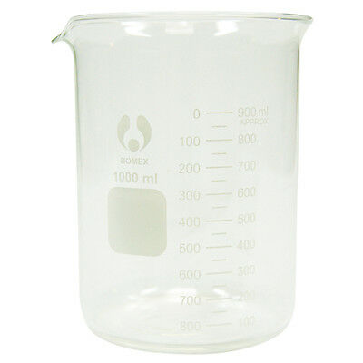 2 x Bomex Beaker 1000ml, Low Form, Glass, Each