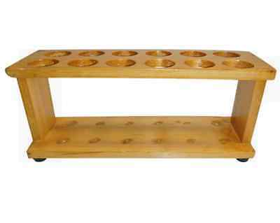 Test Tube Rack 12 Hole, 28mm Diameter without Peg, Wood, Varnished, Each