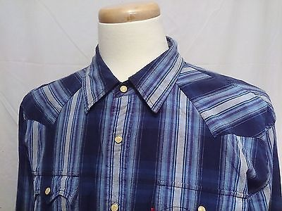 Levi Strauss Striped Western Blue XL Shirt Pearl Snaps Chest Pockets Long Sleeve