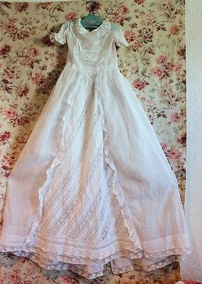 Handmade Lace & Embroidered Heirloom 19thC Antique French Christening Gown