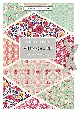 Vintage and Co Fabric and Flowers Scented Drawer Liners (Pack Of 6) NEW