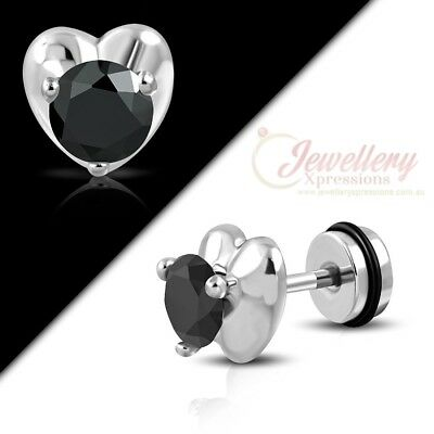 G-1.2mm | Stainless Steel Love Heart Faux Fake Ear Plug w/ Jet Black CZ & O-Ring