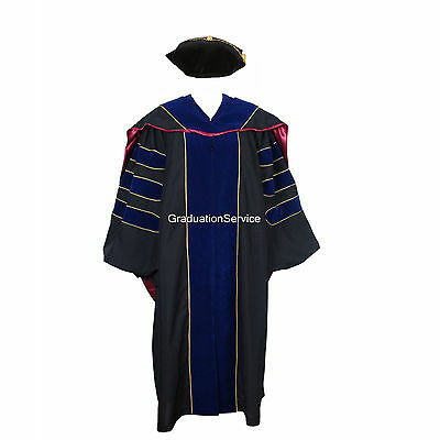 Deluxe Doctoral Graduation Gown,Hood and Tam Package Unisex PHD Gown