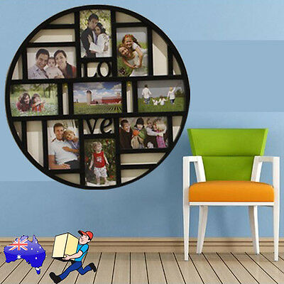 9 Grid Circular Collage Photo Frame Multi Display Art Pictures Wall Home Decor
