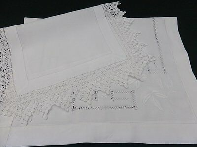 2 Antique Irish Linen English Traycloths~Hand Embroidered~Tenerife Lace~Crochet