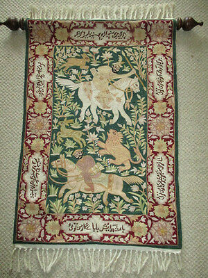 Exquisite vintage crewel point wool silk tapestry or prayer rug