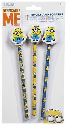 MINIONS Pencils & Eraser Toppers MINION Pencil & Erasers Set Perfect for School