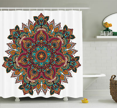 Shower Curtain Mandala Indian Ethnic Design Yoga Themed 70 Inches Long
