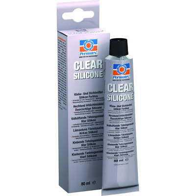Permatex 80050 Clear RTV Silicone Adhesive Sealant 85g, Metal,Glass,Wood,Plastic
