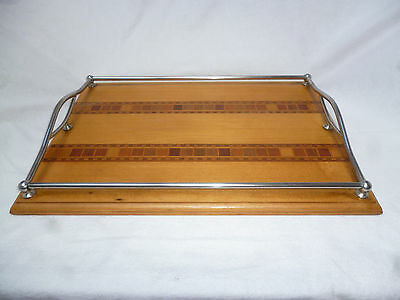 ART DECO NEW ZEALAND INLAID TIMBERS TRAY with METAL RAILS - very good condition