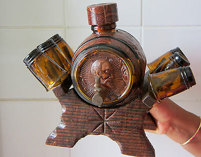 Vintage Leather Covered  Wine  Bottle With 6 Shot glasses ( ID 00D ),.,