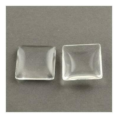 Packet of 10 x Clear Glass 25mm Square-Shaped Flat-Backed Cabochon Y02560