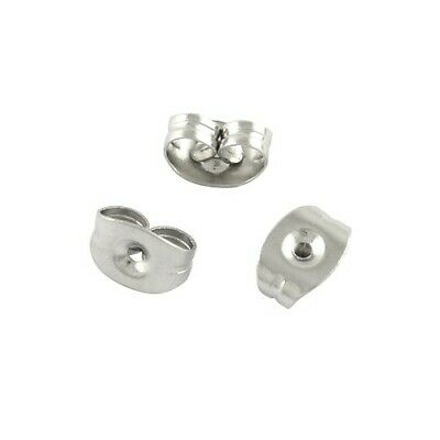 Packet of 110+ Silver Stainless Steel 3 x 5mm Earring Backs Y00540