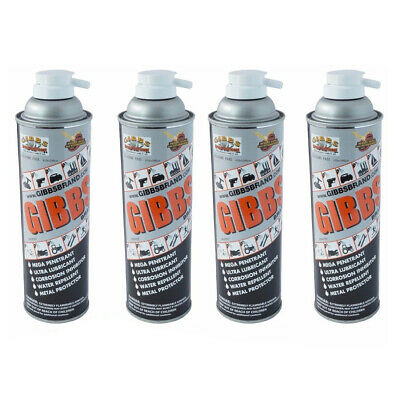 Gibbs Brand Lubricant, Penetrant, Water Repellent, 12 oz Spray Can, Set of 4
