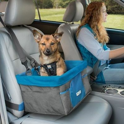 KURGO HEATHER BOOSTER SEAT BLUE/CHARCOAL collapsible car seat for dog puppy