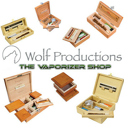 Wolf Productions Rolling Kit Box Tray Pouches Stash Wooden Deluxe Standard Boxes