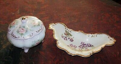 Antique  Lot Gorgeous Powder jar and small dish so Beautiful all hand painted