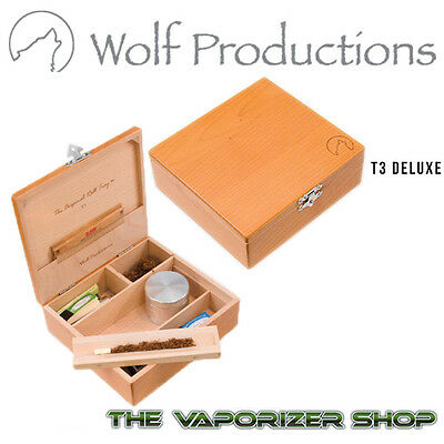 Official Wolf Productions T3 DELUXE Rolling Kit Tray Wooden Box Stash Storage