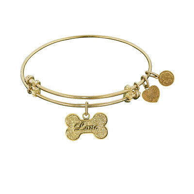 """Angelica Brass """"Bone With Love"""" Adjustable Bangle Bracelet - 7.25 Inches"""