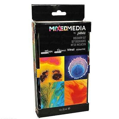 Pebeo Discovery Set MIXED MEDIA 12 x 20ml - Vitrail, Moon, Prisme, Ceramic Paint