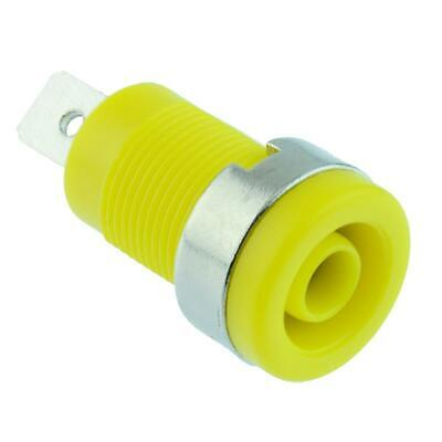 5 x Yellow 4mm Shrouded Panel Mount Test Socket Connector