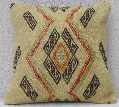 16''x16'' Vintage Turkish Handwoven Geometric Pattern Kilim Throw Pillow Cover