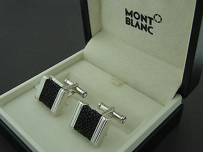 Montblanc Silver Collection Stingray Inlay Cufflinks 35824 Brand New In Box