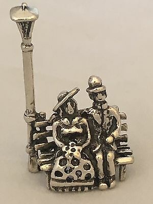 Vintage Italy Sterling Silver  Miniature Of Romantic Couple Sitting On Bench