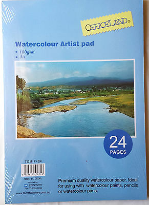 24 Page A4 Size Watercolour Paper Artist Pad 180gsm