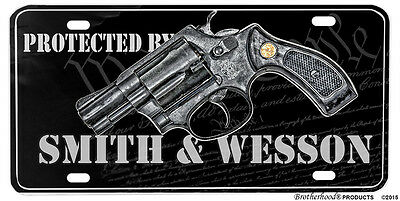 Protected By Smith & Wesson We The People Aluminum License plate