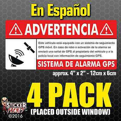 GPS 4 pk SPANISH Anti Theft STICKERS Vehicle Security Vinyl Alarm Decal español