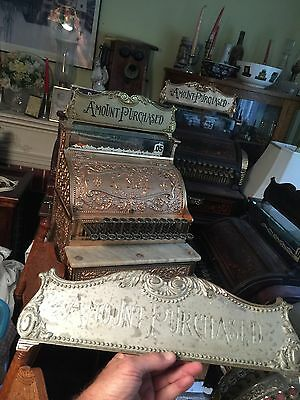 Antique Nickel Brass National cash register TOP SIGN NCR Amount Purchased