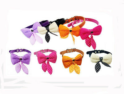 New Adjustable Pet Dog Cat Puppy Neck Scarf Leather Collar Charm Bow Tie