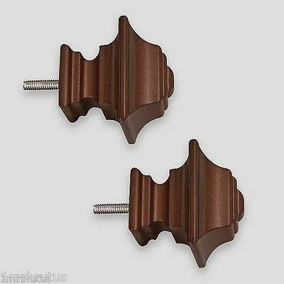 2 Antique Brown Wood Square Knob Finials Decorative Window Curtain Rod Hardware