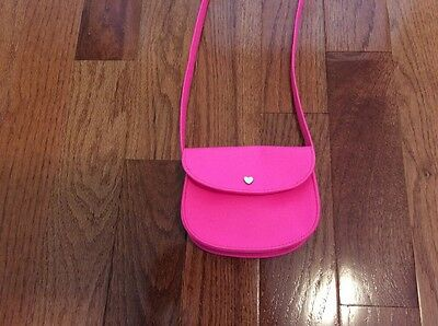 Bright Pink Shoulder Purse For Girls Soft Leather Velcro Mint Condition