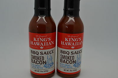 2-king Hawaiin  Smoked Bacon Barbecue Sauce, 15 oz each