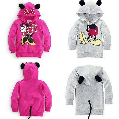 Kids Baby Girl Boy 3D Ear Tail Mickey Minnie Mouse Tops Blouse Hooded Sweatshirt