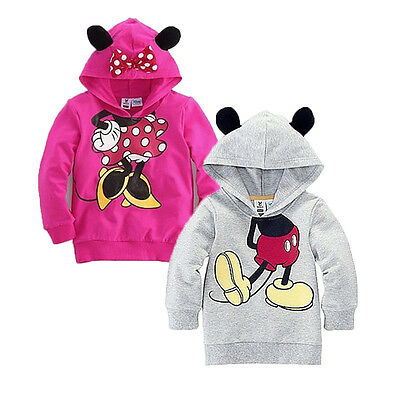 NWT Baby Girl Boy Long Sleeve 3D Ear Mickey Minnie Hooded Sweatshirt Tops Blouse