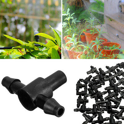 """50Pcs 1/4"""" Sprayer Nozzle Tee Barbed Connector For 4/7mm Hose Garden Watering"""