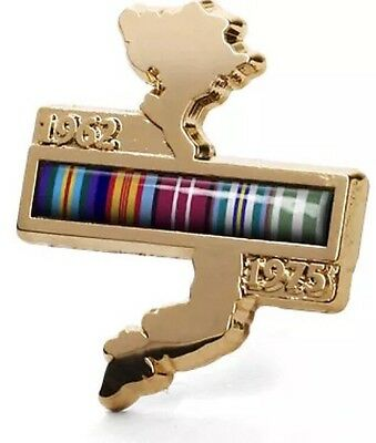 Vietnam Map Lapel Pin with National Service Ribbons