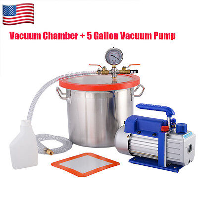 5 Gallon Vacuum Chamber and 3 CFM Single Stage Pump to Degassing Silicone OUY