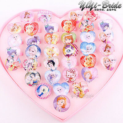 Wholesale 36pcs Mix Lot Assorted Heart Round Cartoon Girl Children Fashion Rings