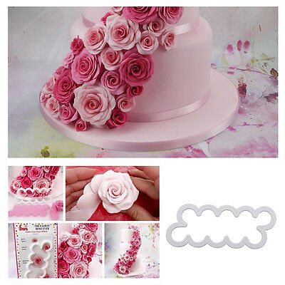 Silicone 3D Cake Rose Petal Flower Cutter Fondant Icing Tool Decorating Mould