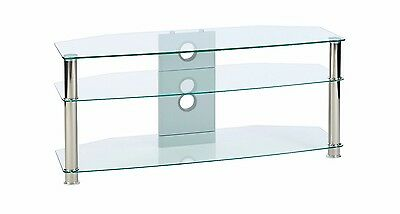 "tv stand clear glass corner unit 1150mm/45.3"" wide 42 46 48 50 55 inch LED LCD"